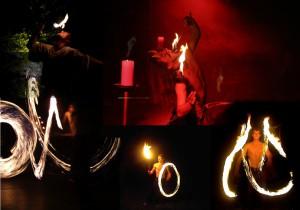 Frowin der Gaukler ist Feuerschlucker und Jongleur. Hier sieht man eine Collage von mehreren Bildern seiner Feuershow. Die Flammen der Jonlierfackel sieht ihre Spur. Feuerpois ziehen ihre Kreise und beim Feuerschlucken brennt die Flamme auf der Zunge.